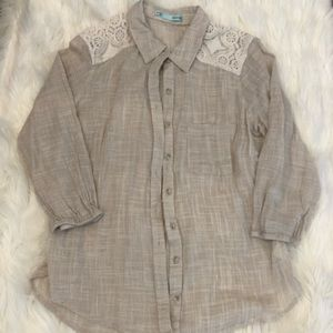 Maurices tan lace button down shirt